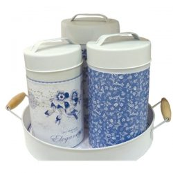 Blue-white French Provincial Metal Canisters (set of 3)