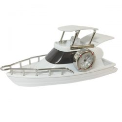 Desktop Flybridge Motor Cruiser with Clock - white