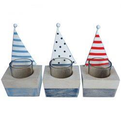 Sailboat Tea-Light Holders (set of 3) 17.5cm