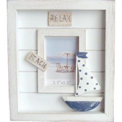 White Wooden PhotoBeach w boat  polkadot sails