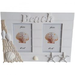 White wooden Dual Photo frame With Beach Sign 15cm