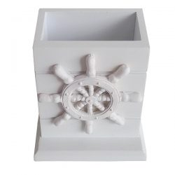 White wooden pencil box with Ships wheel