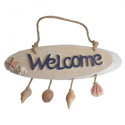 Welcome Plaque with hanging shells35cm