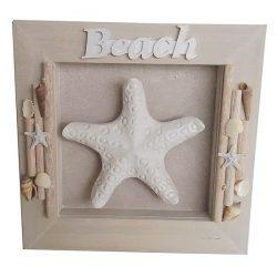 Beach Sign Shadowbox  Driftwood plaque Starfish 32cm