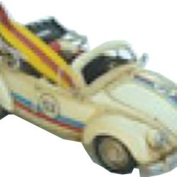 Old Herbie VW Beetle Cabriolet with Surf Boards- Cream 25cm