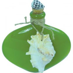 Oval Glass Bottle with Shell 17.5cm Green