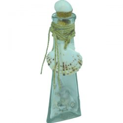 Trianglar Glass Bottle with sand and Shells 18cm clear