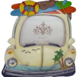 White Car Photo Frame w Surf board - Single