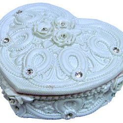 White Ornate Wedding Jewellery Box