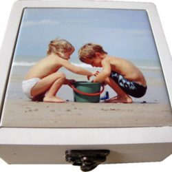 Ceramic Coasters 13cm - Boxed set of 4 - Kids at the Beach