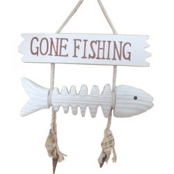 Fish Bone Gone Fishing Sign 26cm