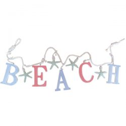 Beach Letters & Starfish Garland Coloured 121x7x1cm